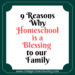 9 reasons why homeschool is a blessing to our family. Encouragement and information for mothers considering homeschool. Why homeschool? This post will give you some great reasons!