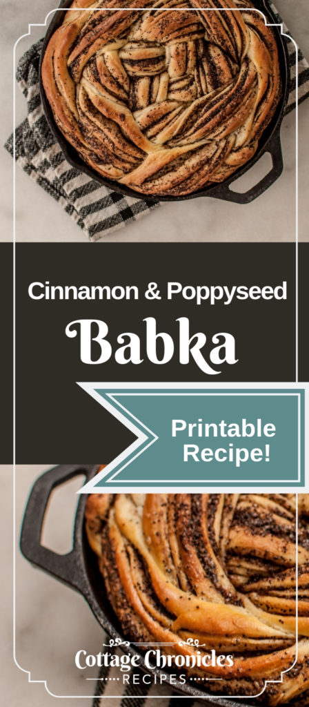 Free Printable Recipe for Cinnamon and Poppyseed Babka. A delightful traditional break desert.