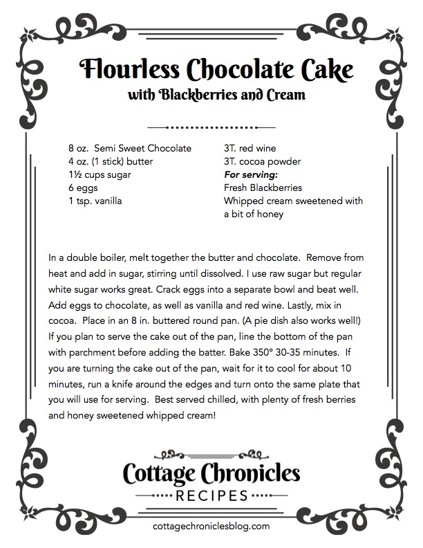 Free Printable Recipe for this rich flourless chocolate cake.  Best Flourless chocolate cake made with cocoa powder.  Gluten Free. Hint of Red wine.