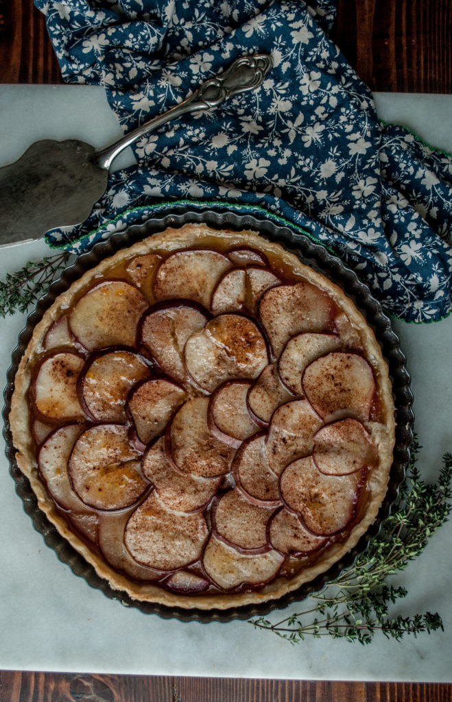 Free Printable Recipe for this delightful Pear and Apricot Jam Tart. The all butter pie crust is crispy and delicious!
