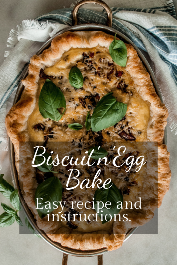 Printable Recipe for this delightful biscuit and egg bake, with step-by-step pictures, on Cottage Chronicles Blog.