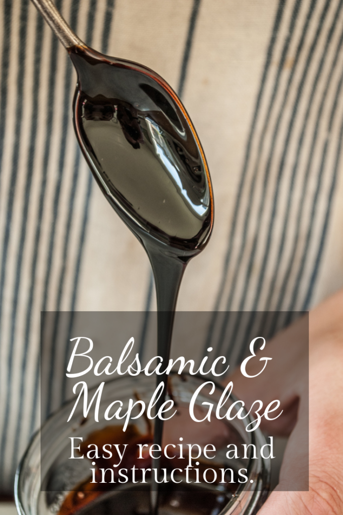 Super easy and versatile recipe for a balsamic reduction glaze, sweetened with a maple syrup!  This fantastic recipe is great for chicken, pork, or any meat, and can easily be made ahead and kept for salads, pastas, burgers, or literally anything from the grill!  This is the REAL secret sauce.  Printable Recipe.