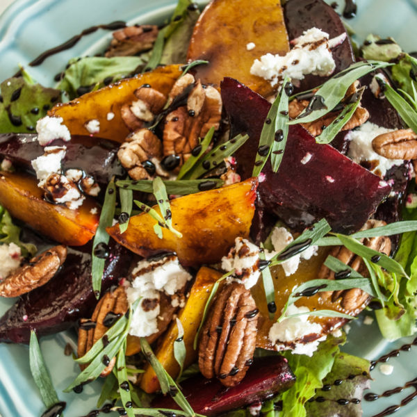 Roasted beet salad with a delicious maple balsamic reduction glaze. Summer salad recipe.
