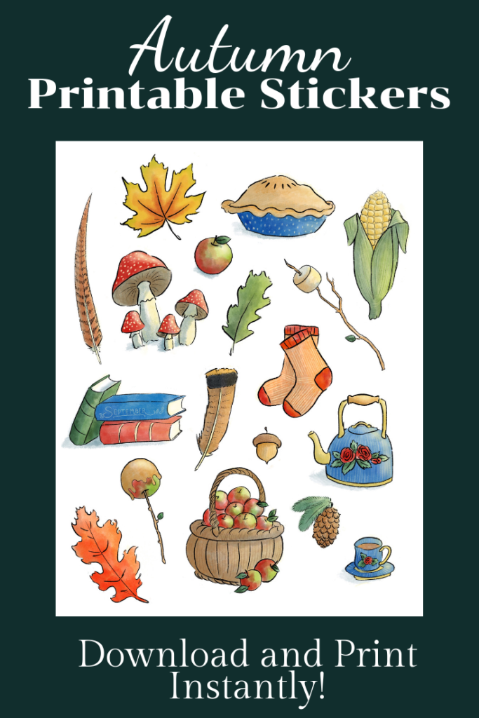 Instant Download. Autumn Printable Stickers or Coloring Page.
