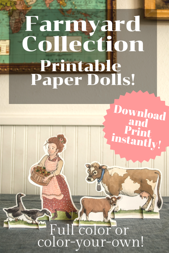 Instant download! Beautiful handmade paper dolls that you can print from home!  Full color and color-your-own available.