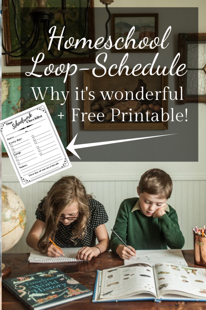 Homeschooling on a Loop Schedule explained.  Daily work and Loop work, plus printable for you to fill in and try out!  Free printable resource.