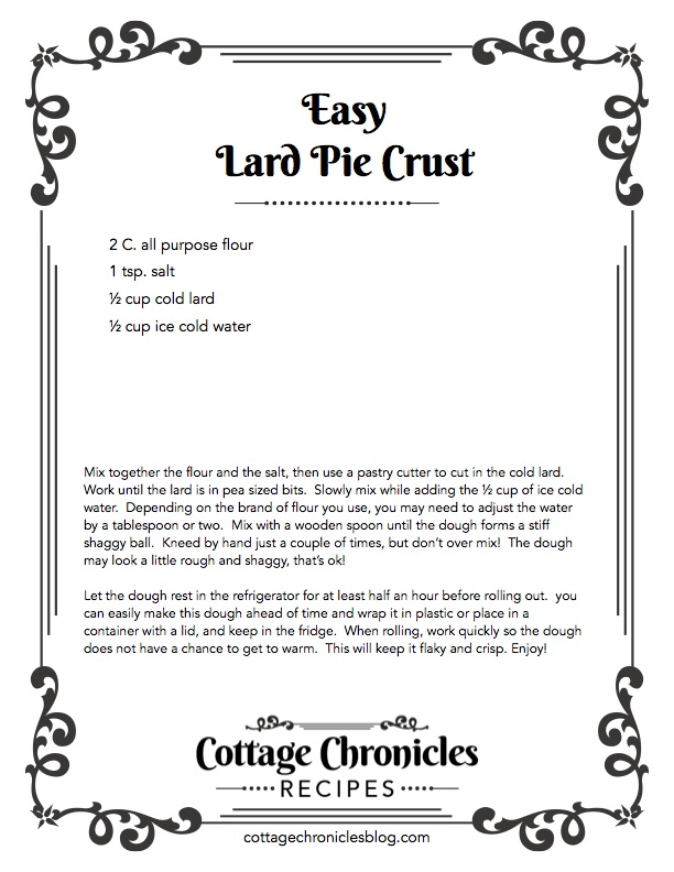 Easy Lard Pie Crust Recipe.  Printable Recipe!