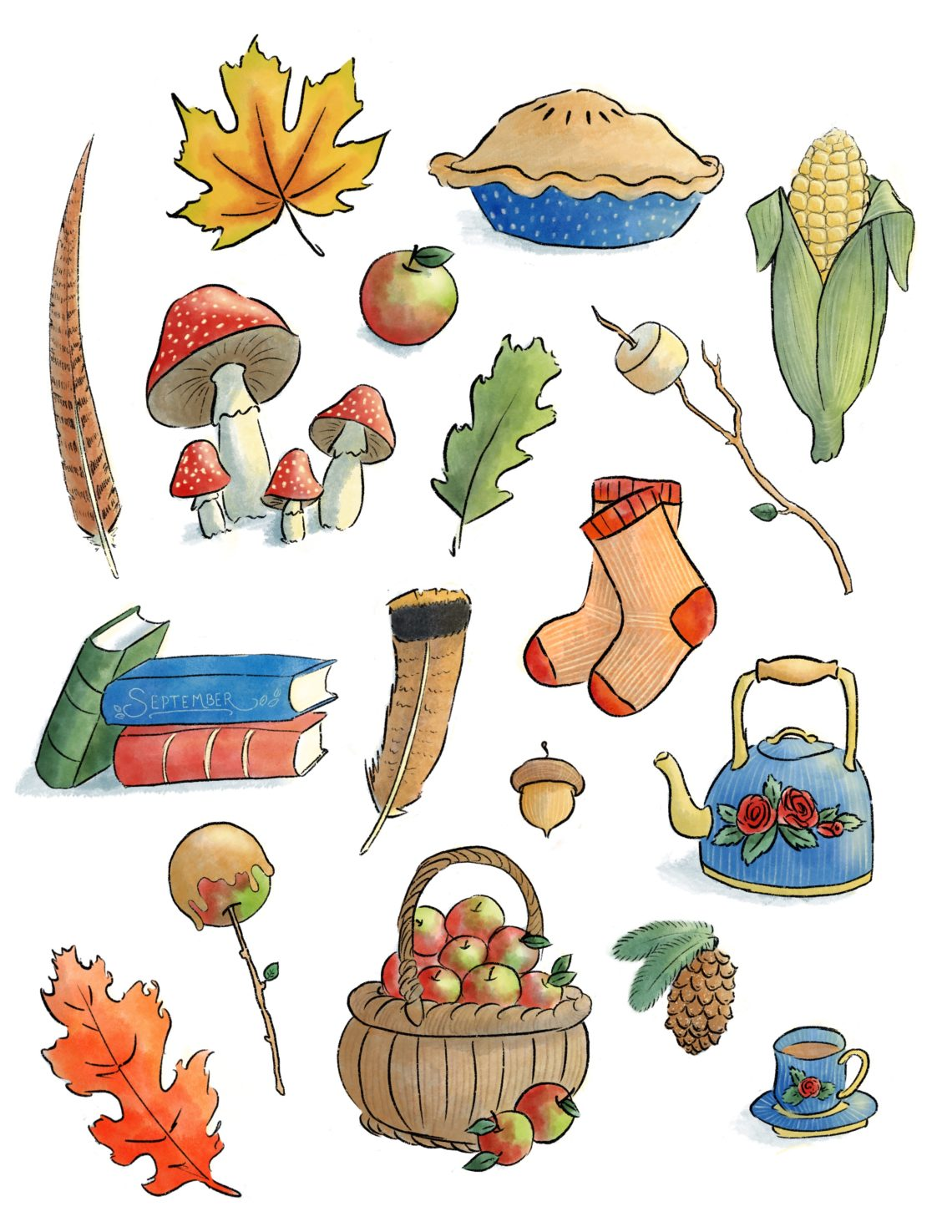 Autumn Printable Stickers or Coloring Page. Instant Dowload.