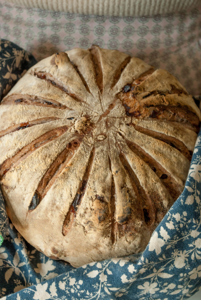 Easy Recipe and Instructions. Rustic Bread Recipe for Walnut and Cranberry Artisan loaf.  Printable Recipe for homemade bread, perfect for Fall baking recipes.