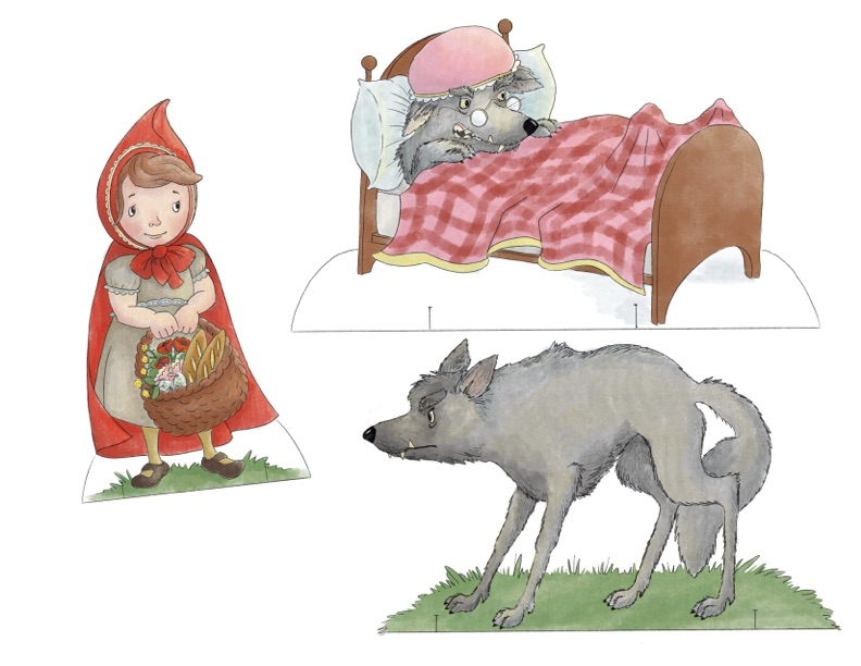 FREE printable paper dolls, Little Red Riding Hood Set. Perfect for fairytale or folktale study, homeschool study, printable play.