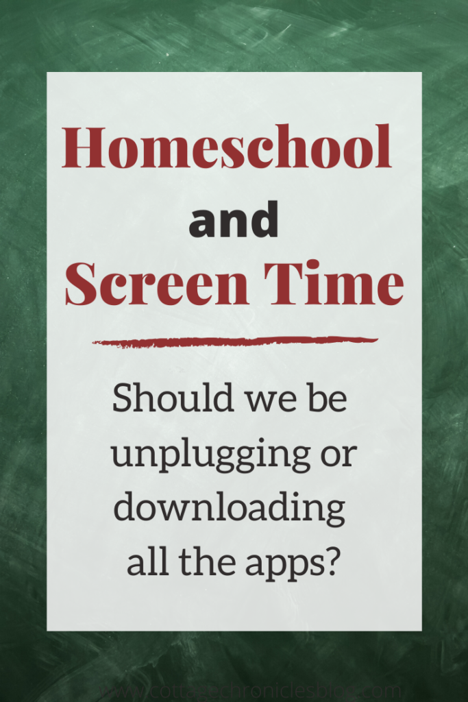 Homeschool and Screen Time, finding balance for unplugging and using technology in homeschool.
