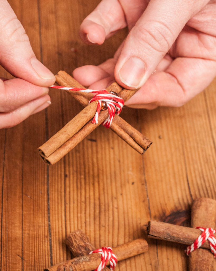Cinnamon Stick Christmas Cross Ornament. A step-by-step tutorial.  DIY Handmade Christmas Craft Series.