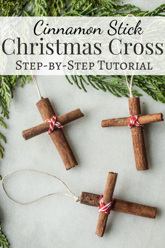 Cinnamon Stick Christmas Cross Ornament. A step-by-step tutorial.  DIY Handmade Christmas Craft Series.