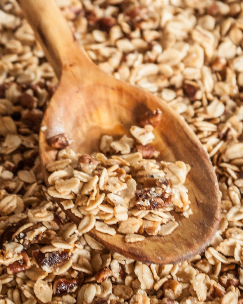 Maple Rum Granola Recipe. Easy Homemade Granola Recipe, rich toasty flavor with maple syrup, dates, pecans and nutmeg.