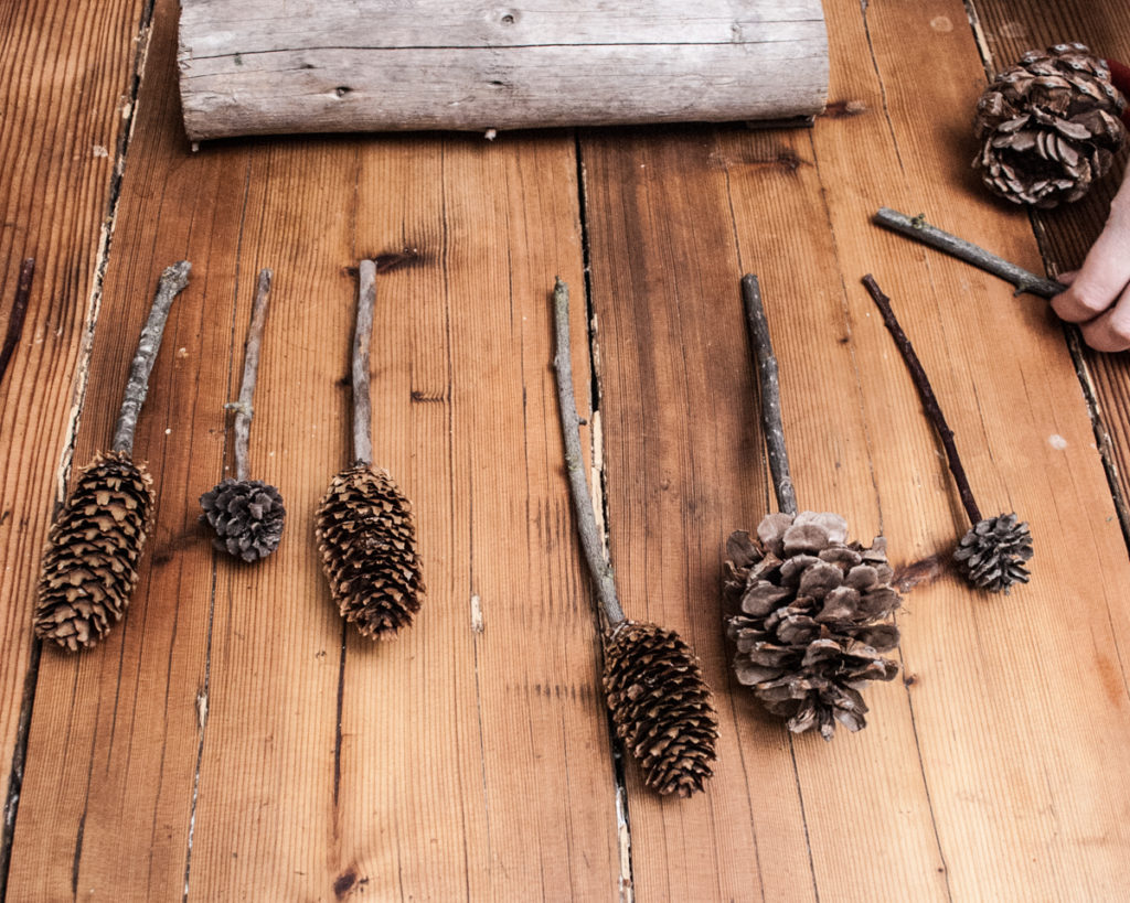 Easy DIY Craft. Pinecone sculpture forest, Christmas Home Decor Craft. Handmade DIY Christmas Crafts Tutorial.