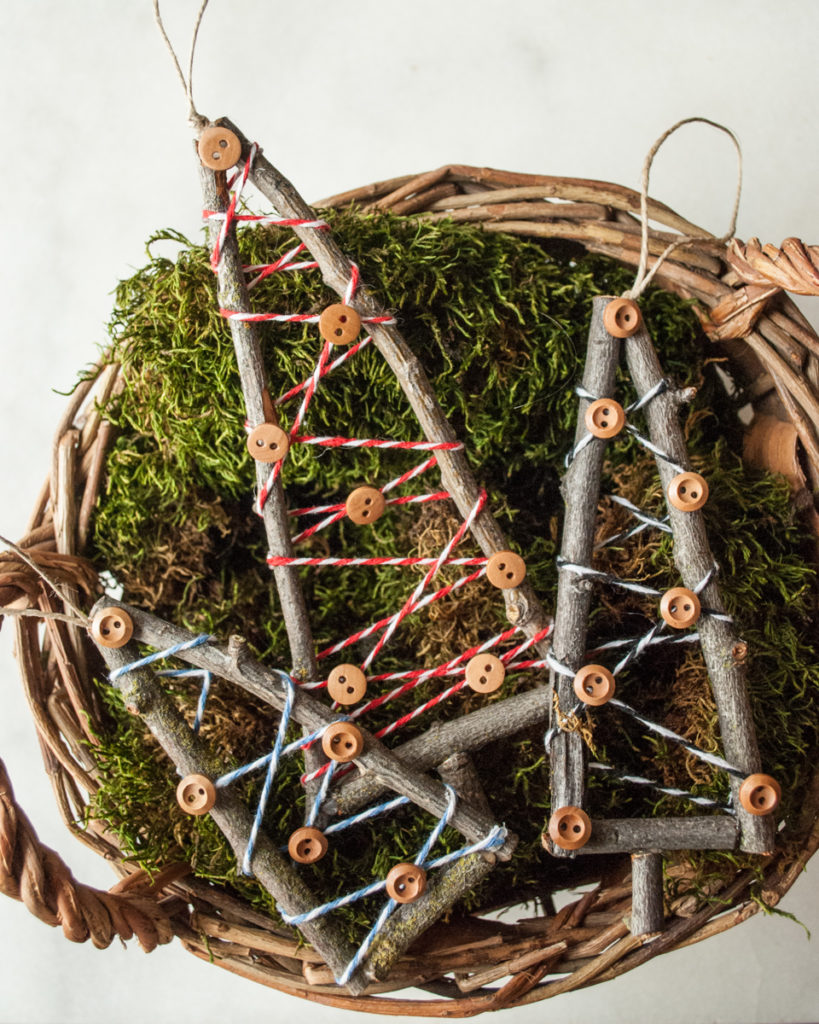 Rustic Stick Tree Ornament. Handmade DIY Christmas Crafts Tutorial.