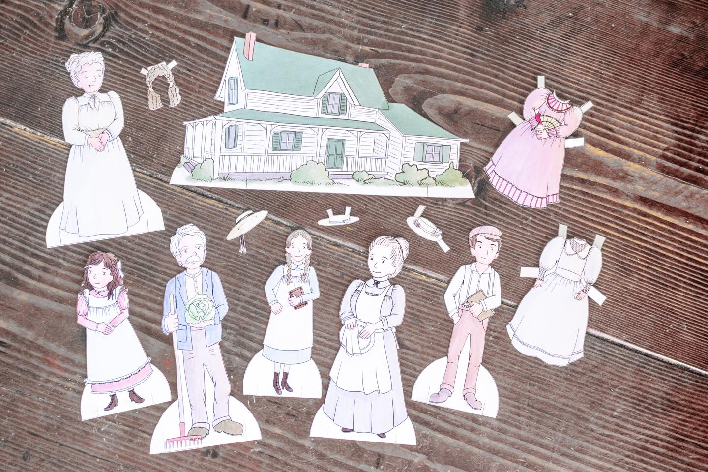 Poupées en papier Anne, la maison aux pignons verts