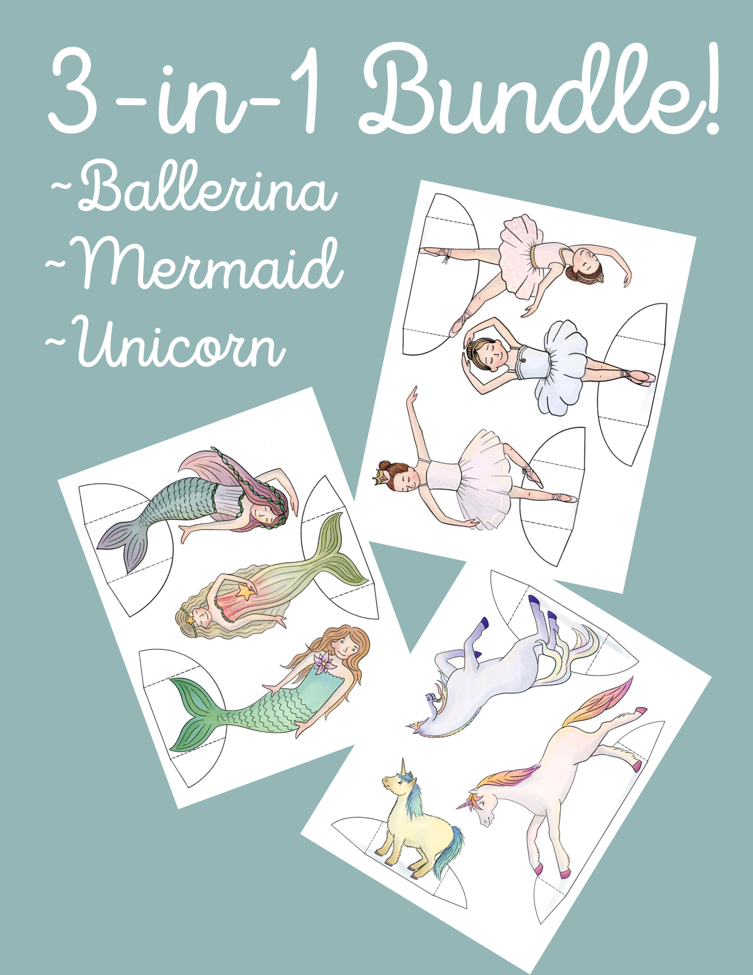 Printable Paper Dolls Bundle Ballerinas, Mermaids and Unicorns. Full color or color-your-own, plus background scenes.
